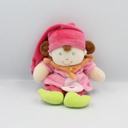 Doudou lutin poupée rose orange vert coeurs NICOTOY