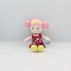 Doudou et compagnie poupée rose jaune fleurs Unicef