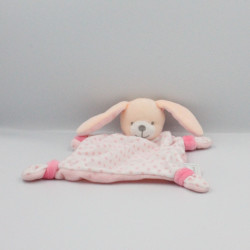 Doudou ours rose fleurs bavoir DMC
