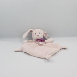 Doudou plat lapin rose robe fleurs foulard TEX BABY
