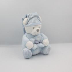 Doudou ours bleu blanc rayé MAX ET SAX