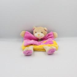 Doudou plat marionnette rose jaune C comme chat BABY NAT