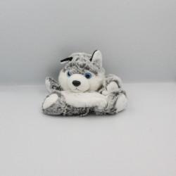 Doudou marionnette chien loup gris blanc tout doux DANI