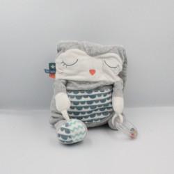 Doudou lapin gris blanc bleu rayé balle hochet TAPE A L'OEIL