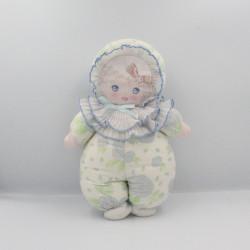 Ancien doudou poupée chiffon tissu bleu vert blanc fleurs MUNDIA