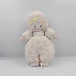 Ancien doudou poupée chiffon tissu rose vert blanc fleurs MUNDIA