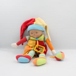 Doudou poupée clown rouge jaune bleu vert balle hochet COROLLE