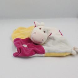 Doudou plat vache rose bleu jaune blanc BABY NAT