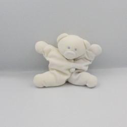 Doudou semi plat ours clown blanc bleu JOLLYBABY