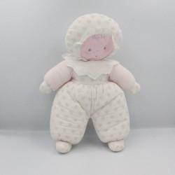Ancienne poupée chiffon rose blanc coeurs COROLLE