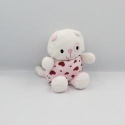 Doudou chat blanc rose coeurs BABY