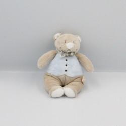 Mini Doudou ours beige bleu Tonton NOUKIE'S