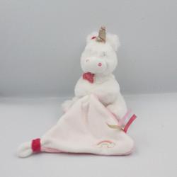 Doudou licorne blanche rose doré mouchoir BABY NAT