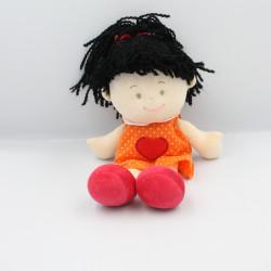 Doudou poupée orange rouge pois coeur KIKOU