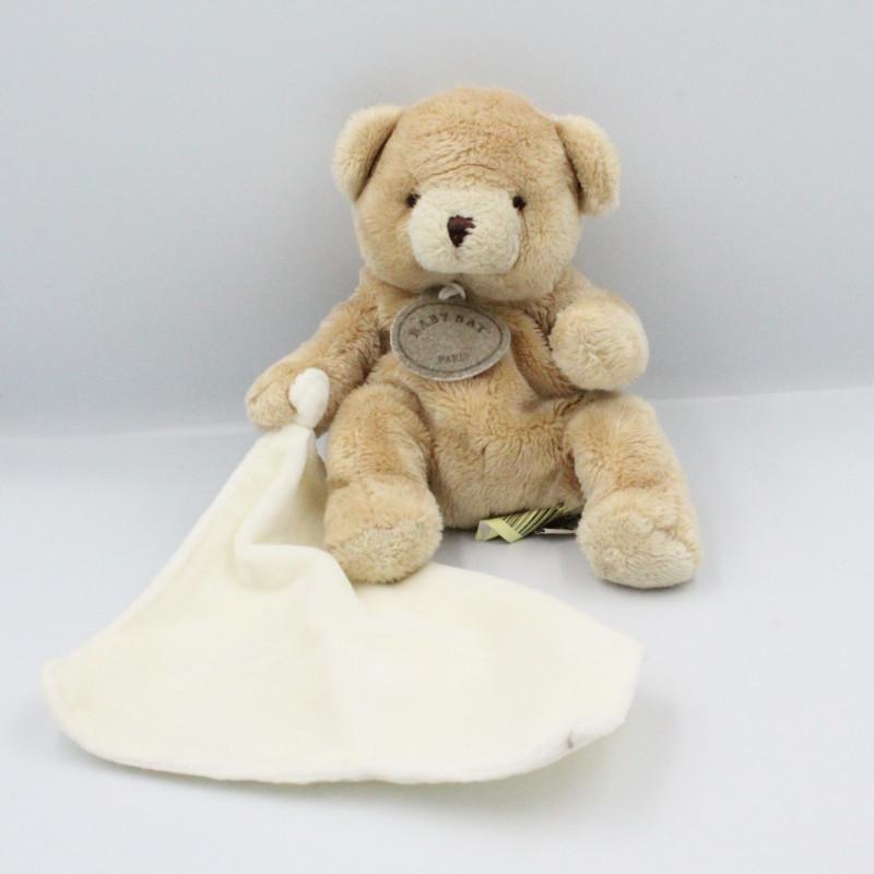 Doudou Ours beige avec mouchoir blanc Baby Nat