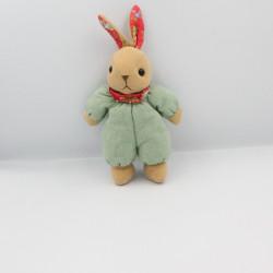 Doudou lapin beige vert rouge fleurs AJENA