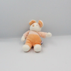 Doudou souris orange blanc SUCRE D'ORGE