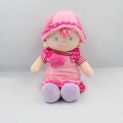 Doudou poupée rose mauve rayé pois étoile