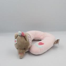 Doudou protége cou éléphant beige rose bleu fleurs Charlotte NATTOU