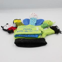 Doudou marionnette à doigts livre Petits amis du jardin QUATRE FLEUVES