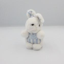 Doudou peluche lapin blanc rayé bleu TARTINE ET CHOCOLAT