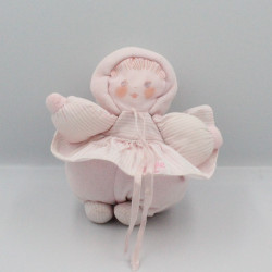 Doudou poupée chiffon robe rose rayé COROLLE MEUNIER