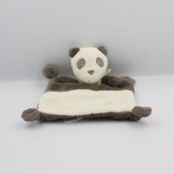 Doudou plat panda blanc marron foulard vert PUSBLU