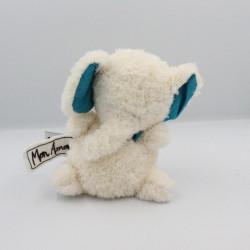 Doudou éléphant blanc bleu Les P'tites Douceurs GLOBE TROTOYS