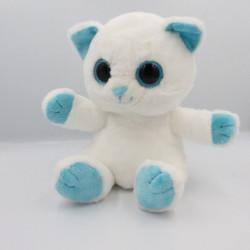 Doudou chat blanc bleu PETILLOUS COLOR GIPSY