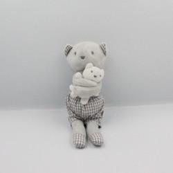 Doudou chat gris blanc carreaux bébé JACADI