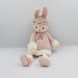 Doudou poupée lapin rose blanc pois étoiles JELLYCAT