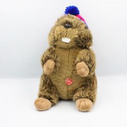 Peluche castor marmotte bonnet rose bleu RODA