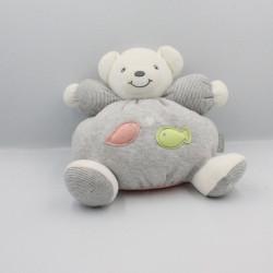 Doudou ours gris blanc rayé poissons Zen KALOO