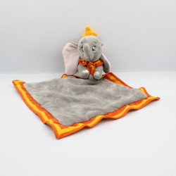 Doudou plat éléphant gris orange Dumbo mouchoir couverture DISNEY