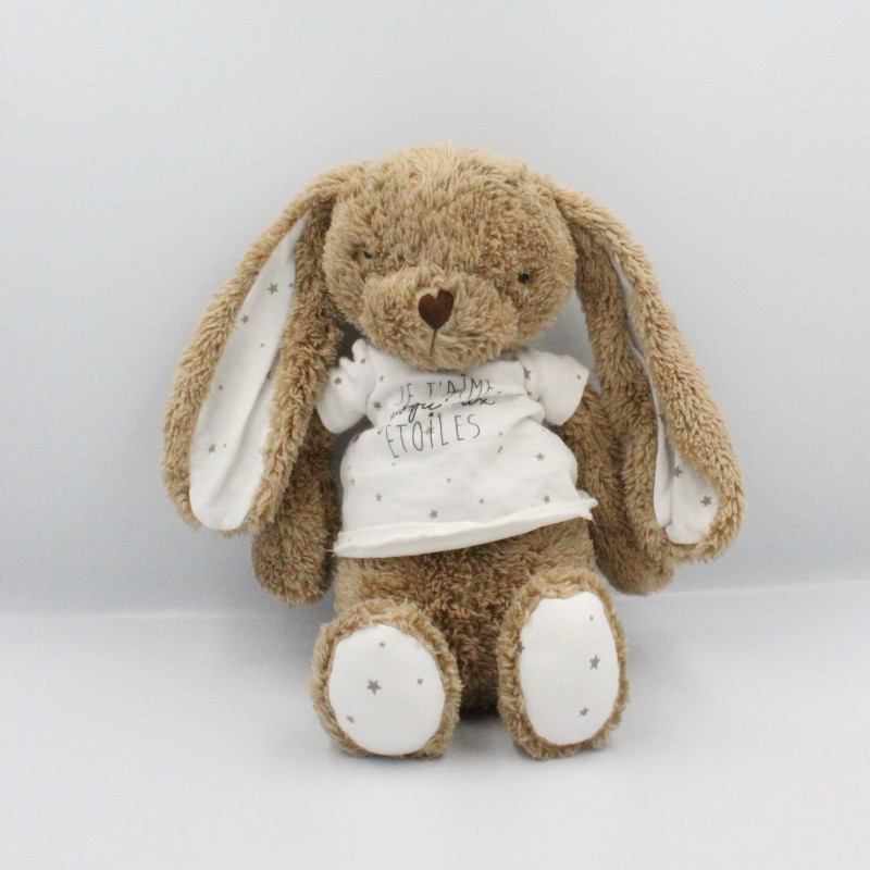 Doudou lapin marron blanc je t'aime jusqu'au étoiles TAPE A L'OEIL