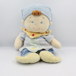 Grand Doudou lutin poupée garçon arlequin bleu vert jaune NICOTOY
