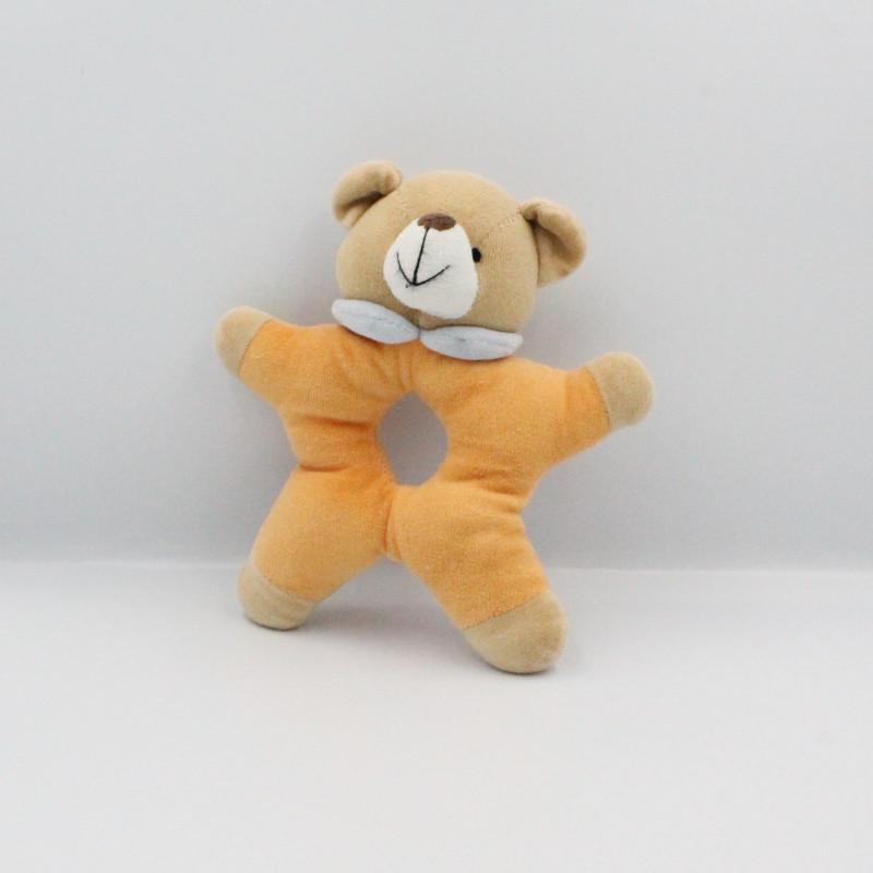 Doudou hochet ours beige orange bleu