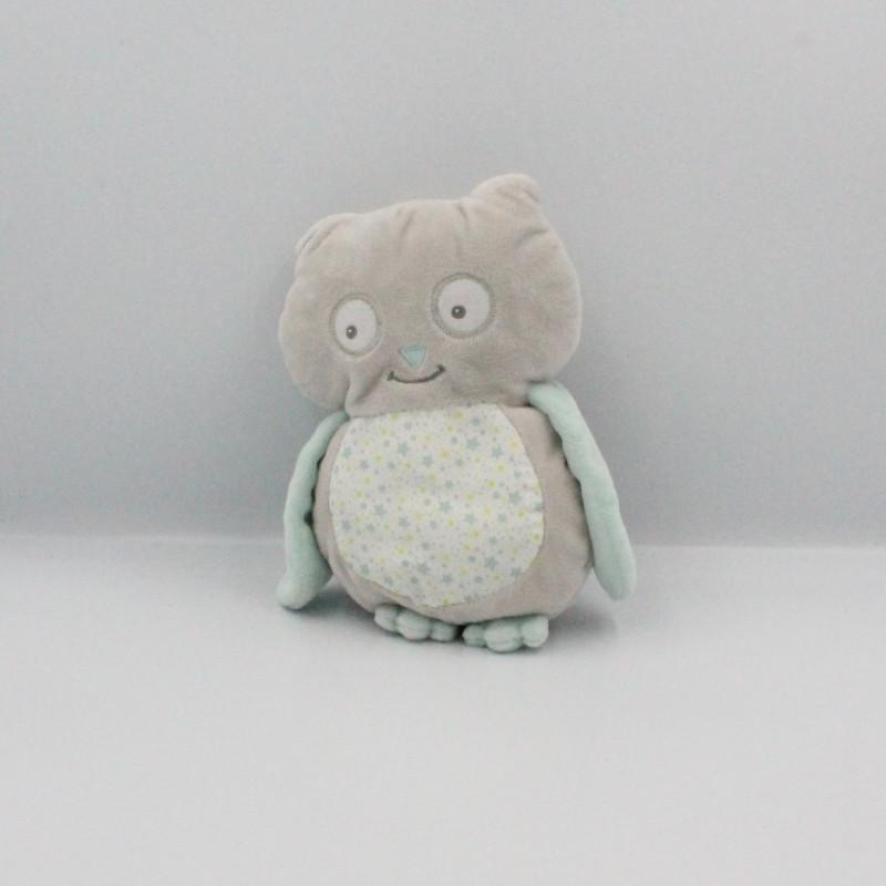 Doudou hibou chouette gris bleu Arthur et Lola BEBISOL