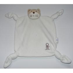 Doudou plat carré blanc chat OBAIBI