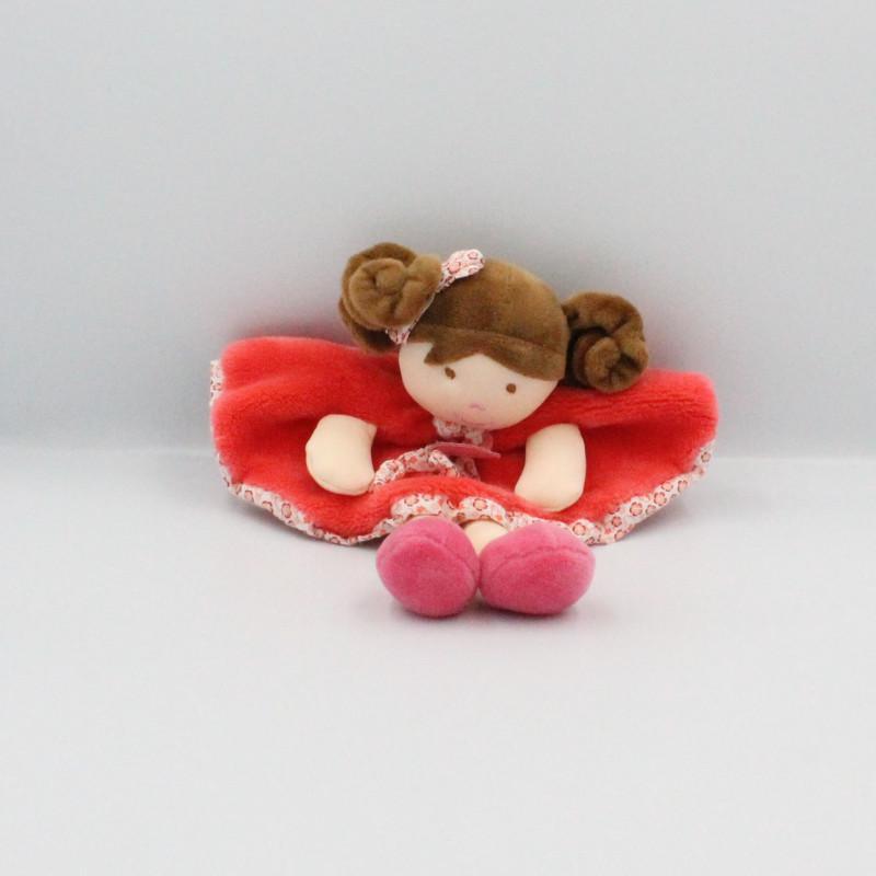 Doudou et compagnie plat poupée fille rose rouge fleurs Les Demoiselles