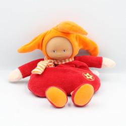 Doudou Poupée lutin grenadine rouge orange étoile grelot Corolle