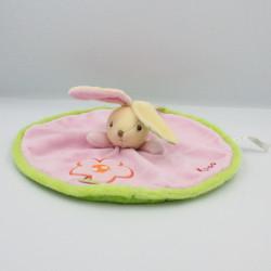 Doudou plat rond lapin rose vert fleur Colors KALOO