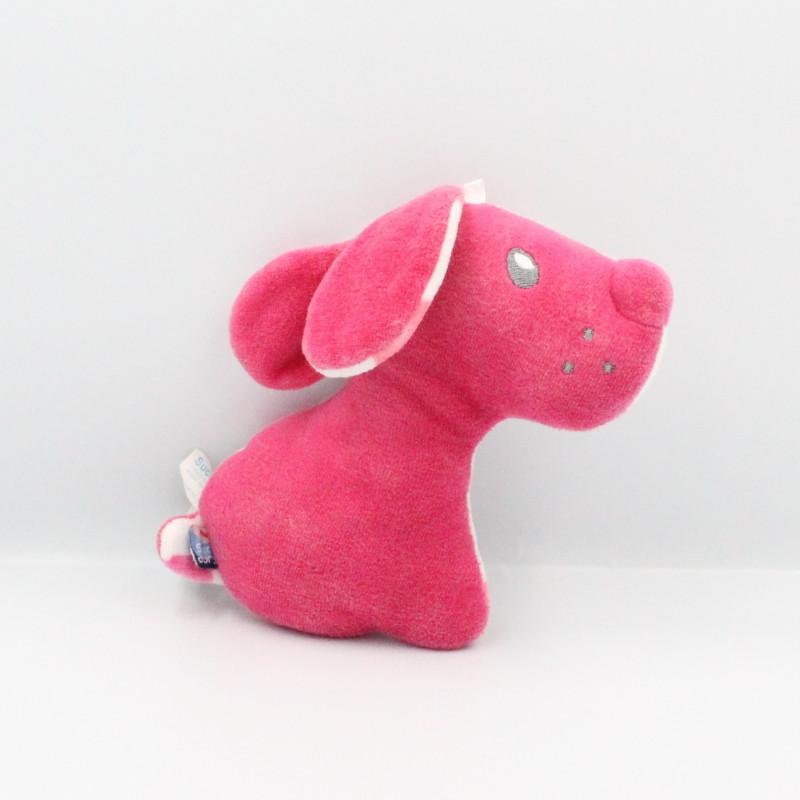 Doudou chien rose blanc pois SUCRE D'ORGE