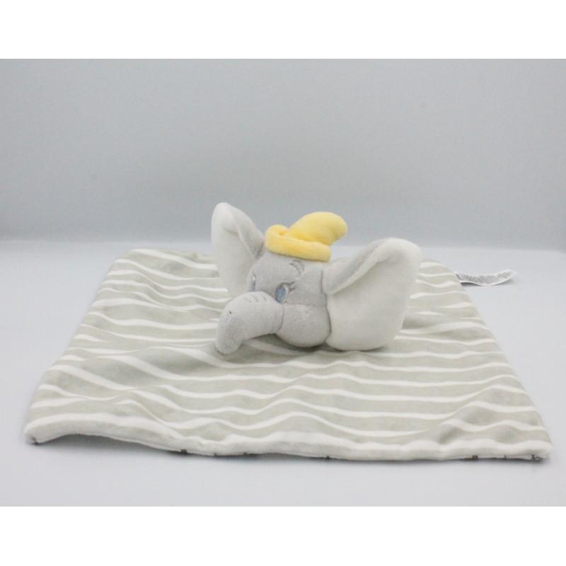 Doudou plat Dumbo l'éléphant gris blanc jaune étoiles DISNEY