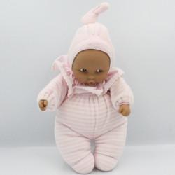 Doudou bébé poupée métis Baby Pouce rayé rose COROLLE 2011