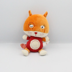 Doudou chat renard orange rouge OXYBUL