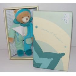 Doudou et compagnie pantin ours vert mouchoir