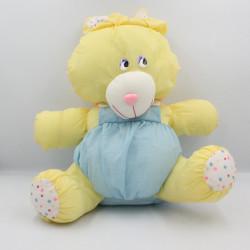Peluche Puffalump lapin jaune bleu pois