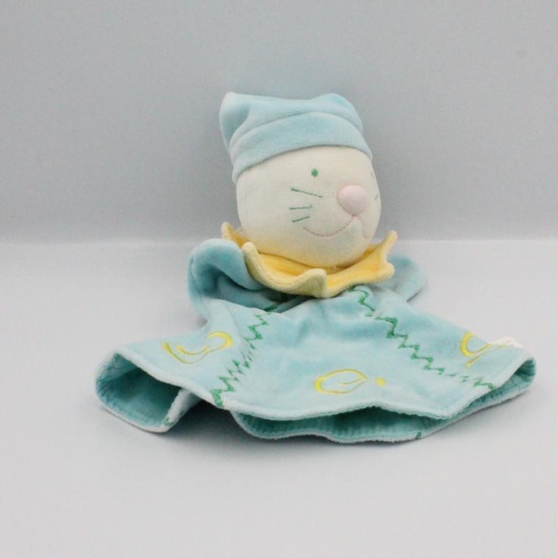 Doudou plat marionnette chat robe bleu pyjama LES JOUETS TOUT COMPTE FAIT