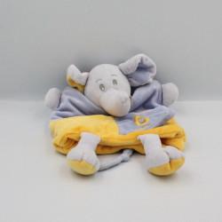 Doudou plat marionnette E comme éléphant mauve jaune BABY NAT